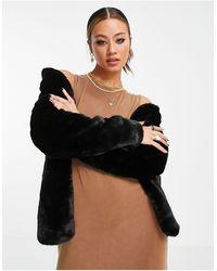 Vero Moda Черное Пальто Из Искусственного Меха -черный Цвет