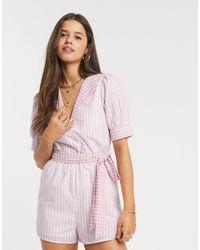 Fashion Union Ромпер В Клеточку С Поясом -розовый Цвет