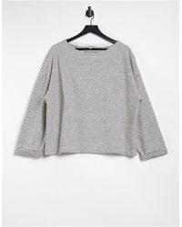 AllSaints Adelise - Top a maniche lunghe grigio a righe - Bianco