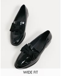 ASOS Mollie - chaussures plates pointure large avec noeud - verni - Noir