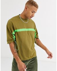ASOS Oversized T-shirt With Half Sleeve And Neon Drawcord - Green