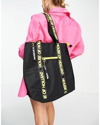 House of Holland Tote Bag With Logo Straps And Contrast Zips - Black