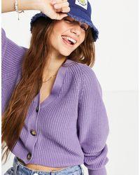 Monki Фиолетовый Трикотажный Кардиган Zeta - Пурпурный