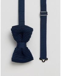 Féraud - Gianni Knitted Bow Tie In Navy - Lyst