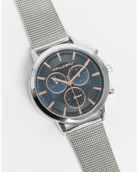 ASOS Stainless Steel Mesh Watch With Navy Face And Rose Gold Detail - Metallic