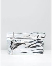 Missguided - Metallic High Shine Roll Top Clutch Bag - Lyst