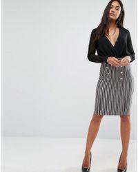 SuperTrash - Syonce Pinstripe Button Detail Skirt - Lyst