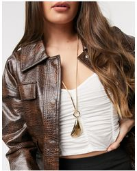 Warehouse Shell Charm Long Pendant Necklace-brown