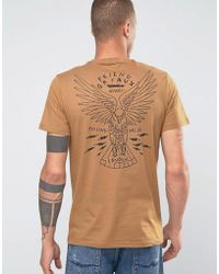 Friend or Faux Eagle Back Print T-shirt - Brown