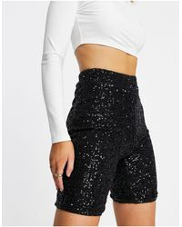 Club L London Sequin Bodycon Short - Black