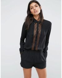 SuperTrash - Wientot Long Sleeve Lace Playsuit - Black - Lyst
