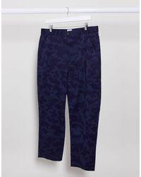 Farah Hawtin Loose Tapered Crop Fit Camo Print Trousers - Blue