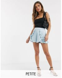 River Island Ruffle Hem Sheen Shorts - Blue