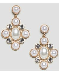 ASOS - Earrings In Cross Shape With Pearls And Crystals In Gold - Lyst