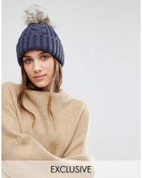 Stitch & Pieces - Knitted Faux Fur Pom Beanie - Lyst
