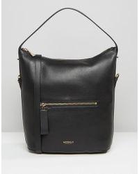 Modalu - Leather Bucket Shoulder Bag In Faux Lizard Mix - Lyst