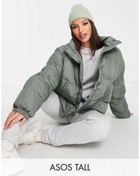 ASOS Asos Design Tall Oversized Recycled Puffer Jacket - Green