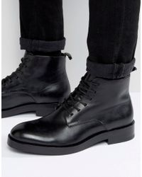 CALVIN KLEIN 205W39NYC - Read Leather Lace Up Boots - Black - Lyst