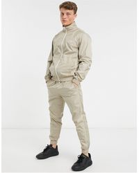 Jack & Jones Intelligence Tracksuit With Piping - Natural