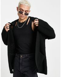 ASOS Knitted Oversized Fisherman Rib Cardigan - Black