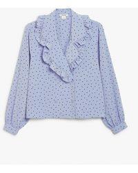 Monki Marian Spot Print Frill Collar Blouse - Blue
