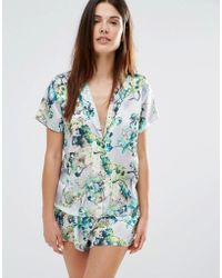 Wolf & Whistle Wolf And Whistle Floral Satin Short And Short Pyjama Set