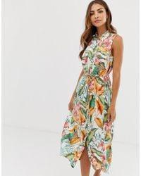 Warehouse - Midi Shirt Dress In Tropical Print - Lyst