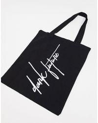 ASOS ASOS Dark Future - Tote bag épais à imprimé griffé - Noir