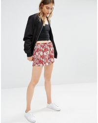 First & I - Floral Print Shorts - Lyst