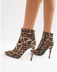 b6ef49eabaf4 PrettyLittleThing - Pointed Stiletto Heel Boots In Leopard - Lyst