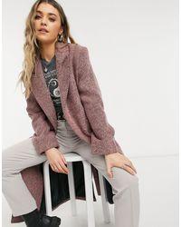 ASOS - Розовое Пальто В Винтажном Стиле С Узором «в Елочку» - Lyst
