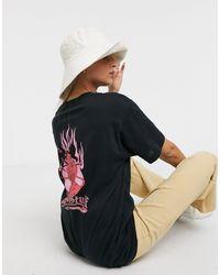 New Girl Order - Flame Back Print Oversized T-shirt-black - Lyst
