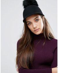 ALDO - Riding Hat With Detatchable Faux Fur Pom - Black - Lyst