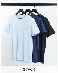 Abercrombie & Fitch Confezione da 3 T-shirt con logo azzurro/blu navy/nero