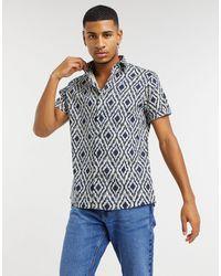 TOPMAN Short Sleeve Shirt With Geo Print - Blue