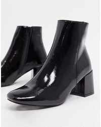 New Look Черные Лакированные Ботинки На Блочном Каблуке -черный