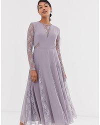 ASOS Midi Dress With Long Sleeve And Lace Paneled Bodice - Purple