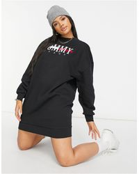 Tommy Hilfiger Черное Трикотажное Платье С Логотипом -черный Цвет