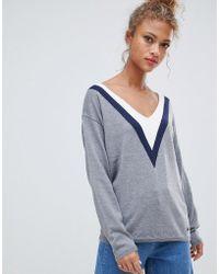 Blend She - Slade Sporty V Wool Blend Jumper - Lyst