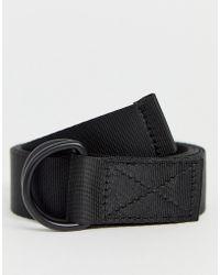 ASOS Long Ended Webbing Belt In Black With D-rings