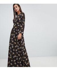 Y.A.S Retro Floral Maxi Dress - Black