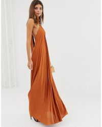 ASOS Halter Trapeze Pleated Maxi Dress With Ring Detail - Brown