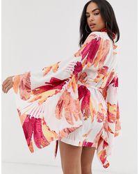 ASOS Sunray Palm Print exaggerated Sleeve Beach Kimono - Pink