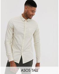 ASOS Tall Slim Fit Casual Oxford Shirt In Ecru - Multicolour