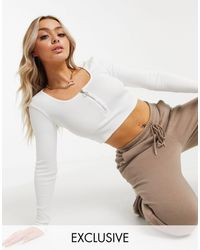 Missguided White Long Sleeve Scoop Neck Zip Front Rib Crop Top