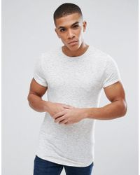 ASOS - Muscle Longline T-shirt With Roll Sleeve And Curved Hem In Inject Interest Fabric - Lyst