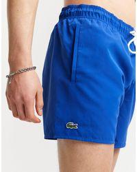 Lacoste Синие Однотонные Шорты Для Плавания С Логотипом -голубой - Синий