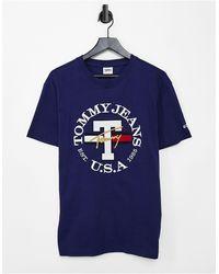 Tommy Hilfiger Timeless - T-shirt Met Rond Logo - Blauw