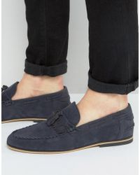ASOS | Tassel Loafers In Navy Faux Suede With Fringe | Lyst