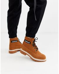 Caterpillar Cat Lyric Corduroy Suede Lace Up Boots - Brown
